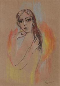 original drawing A4 196YL art samovar modern pastel female nude Signed 2021