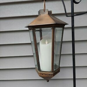 Unbranded Indoor Outdoor  Brushed Bronze Candle Lantern With Bevelled Glass