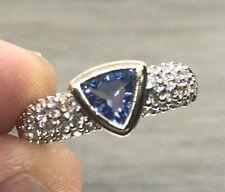 Women's 14K Yellow White Gold Diamond & Tanznite Ring Size 8