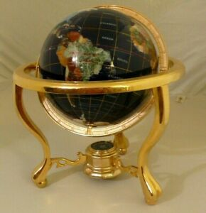 """220mm Blue Lapis 10"""" inches Gemstone Globe on Gold Brass Table Top Stand"""