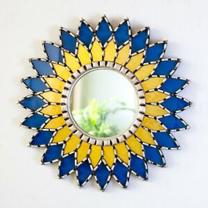 "Blue Mandala wall Mirror 17.7"" from Peru, Accent round wall contemporary mirror"