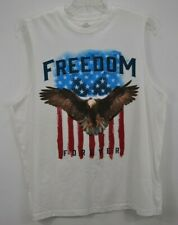 USA Freedom Forever Mens X-Large Graphic T Shirt White Sleeveless 100% Cotton EC