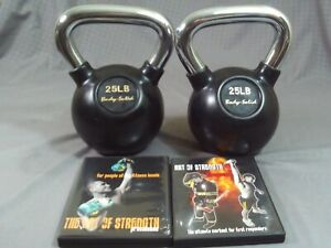 Lot Of 2 Body Solid 25 Pound Kettlebells Weights Black Chrome Handles + 2 DVDs