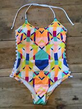 """White Geo~LARGE~Victoria's Secret """"PINK! SUPER STRAPPY CUT OUT"""" One Piece VS!"""