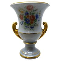 Vtg Ceramic Urn Style Console Vase Gold Gilded Handles Multi Color Floral