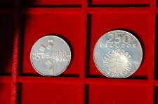 Portugal 1976  2 silver coins UNC 100 e 250 escudos - 25 abril 1974