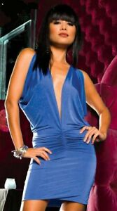 Sexy Blue Open Back Valentines Clubwear Clubbing Dance Party Outfit Mini Dress