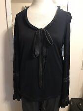 Marina Rinaldi Black Silk & Cashmere Blend Scoop Neck Tunic W/Tie Bell Sleeve M