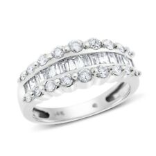 1.00 Ct. Natural Diamond Baguette & Round Fashion Ring In Solid 14k White Gold