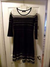 NWT Nine West Size S Black & white Knit Dress 3/4 Sleeve Below Knee