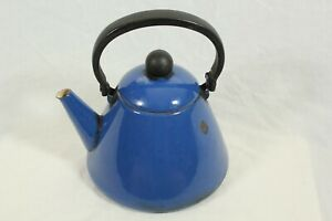 Vintage Blue Enamel Kettle Stove Top Retro