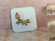 Fox Wood Brooch, Mini animal brooch, nature gift, wooden jewellery Kente Orange