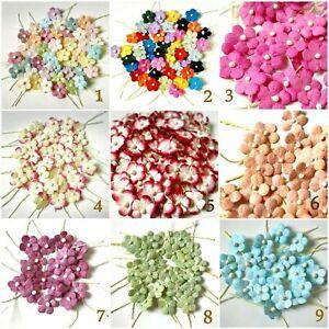 Flowers Mulberry paper Mini 5 Petals 10 mm Thread Stem Embellishment 50 blossom