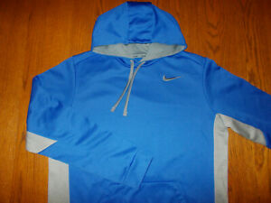 NIKE THERMA-FIT BLUE & GRAY HOODED SWEATSHIRT MENS LARGE EXCELLENT CONDITION