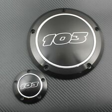 Black 103 Derby Cover Timing Timer Cover for Harley Dyna 99-17 Softail Touring