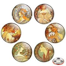 "Alphonse Mucha Artwork 1.25"" Pinback Button BADGE SET #1 Art Nouveau Pins Gift"