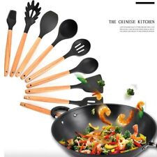 Silicone Utensil Set Wooden Handle Kitchen Cooking Baking Tools Heat Resistance
