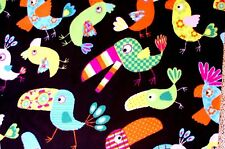 COLORFUL WILD FOREST BIRDS ON BLACK BACKGROUND FLEECE MATERIAL 2 YARDS 60 X 72""