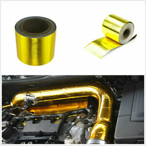 """Car 1200°f Continuous Gold Reflective Heat Shield Self-Adhesive Wrap Tape 2""""x33'"""