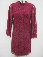 Warehouse Cerise Pink Lined Lace High Neck 3/4 Sleeve Shift Dress Size 10