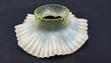Antique Decorative Vaseline Glass Ruffled Candle Or Oil Lamp Or Vase Collar