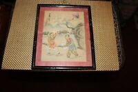 Antique Chinese Drawing Boys Flying Kites Signed Stamped Framed