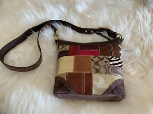 New Coach 3H00022150 Patchwork Leather & Canvas Duffle Handbag Multicolor