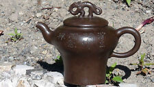 ANTIQUE 19C CHINESE DARK BROWN YIXING CLAY DRAGONS TEAPOT,SIGNED