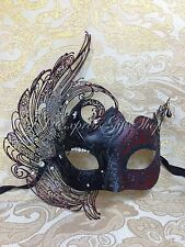 3D Angel Dark Burgundy Fancy Venetian Masquerade Mardi Gras Prom Mask w/Diamonds