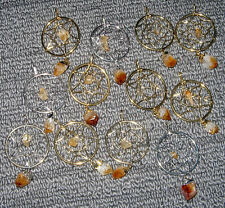 LOVELY NEW SILVER or GOLD CITRINE DREAM CATCHER PENDANT COMES WITH A FREE POUCH