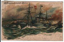 Litho Card,German Warship SM Torpedo Training Ship Bluecher,1902