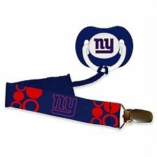 NEW YORK GIANTS BABY PACIFIER WITH CLIP NEW BPA FREE NEW & OFIICIALLY LICENSED