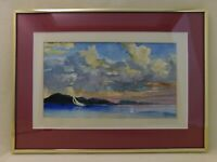 Biff Heins 2001 Original Watercolor Painting Matted Framed 15x11 Sailboat Sky