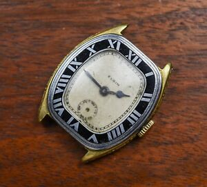 Vintage Elgin Legionnaire Bitonal Enameled Roman Bezel Watch AS IS REPAIR