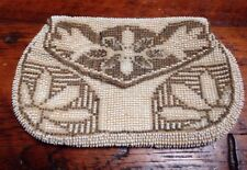 Vtg 20s Art Deco Hand Seed Beads Micro Beaded Cream Silver Evening Purse Clutch