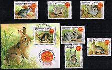 Zeldzaam en heel mooi.1821.Cambodja 1999.Prachtige serie konijnen.Compleet.Gest.