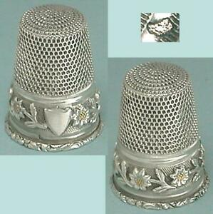 Antique Flower Band Silver Thimble  French * Circa 1890s