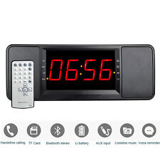 New Dual Alarm Clock Bedside FM Radio Bluetooth Speaker Lossless Music MP3 Play