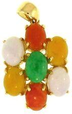 natural multicolor jadeíta jade Piedra Ovalada Colgante