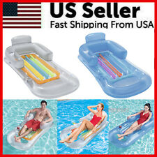 Pool Float Lounge Floating Swimming Lounger With Headrest Cup Holder Inflatable