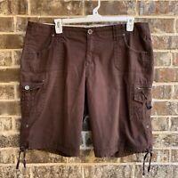 intro Womens Plus Bermuda Cargo Shorts Roll Cuffs Brown Size 18W