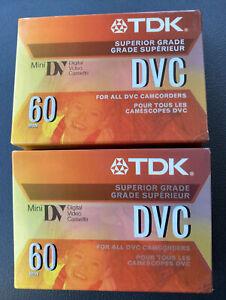 Lot of 2 TDK Mini DV 60 Min DVC Digital Video Cassette Tapes Sealed NEW
