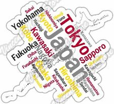 "Japan Tokyo Yokohama Country Map Word Cloud Bumper Vinyl Sticker Decal 5""X4"""