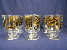 Vtg Color Craft Glass Pedestal Tumblers Custom Auto Theme Robinhood Gold Black