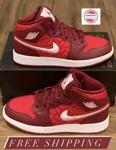 Nike Air Jordan 1 Mid SE Red Quilted Shoes AV5174-600 Men's Sz 5.5Y Women's Sz 7