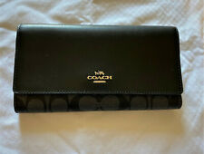 Coach Signature Trifold Smoke Black Leather Canvas Checkbook Wallet F88024