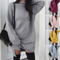 Womens Winter Autumn Loose Knitwear Sweater Long Sleeve Turtle Neck Jumper Dress
