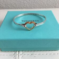 Tiffany & Co Silver 18K Yellow Gold Open Heart Hook Bangle Bracelet POUCH BOX