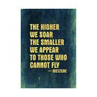Higher Soar Smaller Appear Fly Nietzsche Quote Blue Framed Wall Art Print