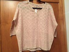 Etoile Isabel Marant SZ S BELA Pink & White Intarsia Cotton Knit V-Neck Top
